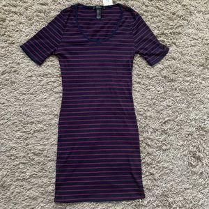 F21// striped bodycon dress size small